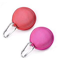 Case Star 2 PCS EVA Clamshell Style Case Bag for Zipbuds JUICED 2.0 Never Tangle Zipper Earbuds Featuring ComfortFit2 Earphone Earbuds Charging Cable with Case Star Cell Phone Bag (Hot Pink and Red)