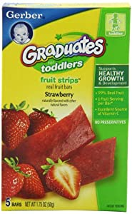 Gerber Graduates Fruit Strips, Strawberry, 5-Count Bars (Pack of 6)