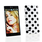 Kit Me Out UK IMD TPU Gel Case + Screen Protector with MicroFibre Cleaning Cloth for LG Optimus L9 P760 - White / Black Polka Dots