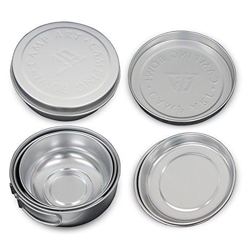 Braudel 6pcs Bowl Plate Set - Super Lightweight! - Aluminum Material - Portable 6 in 1 Folding Camping Flatware Utensils