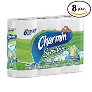 Charmin Sensitive Toilet Paper Rolls 6 Giant Rolls, (Pack of 8) 48 Total Rolls