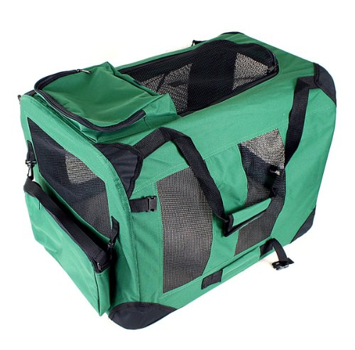 "New 24"" 3-Door Dog Pet Foldable Portable Crate/Tent (Size: 24""X17""X17"". Color: Green) front-1017663"