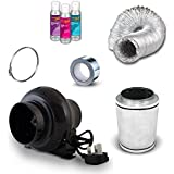"4"" Carbon Filter, Black Orchid Small In Line Fan & Duct Kit - Hydroponic Tent Grow Room Ventilation LED Set Up"