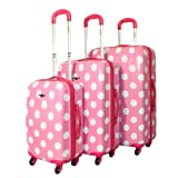 Rockland Designer 3-Piece Lightweight Hardside Spinner Luggage Set - Pink Dot