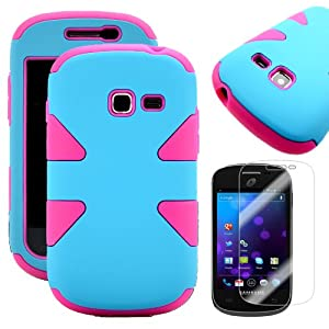 MINITURTLE, Dual Layer Tough Skin Dynamic Hybrid Hard Phone Case Cover and Clear Screen Protector Film for Prepaid Net10, Straight Talk Android Smartphone Samsung Galaxy TracFone Discover S730G / Centura S738C (Baby Blue / Pink)