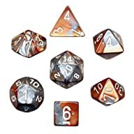 Polyhedral 7-Die Gemini Dice Set – Copper-Steel with White