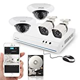 Zmodo 8CH HDMI NVR 2 Bullet Outdoor+2 Dome Indoor 720P HD PoE IP Security Camera System with 500GB Hard Drive (Record up to 150 Days)