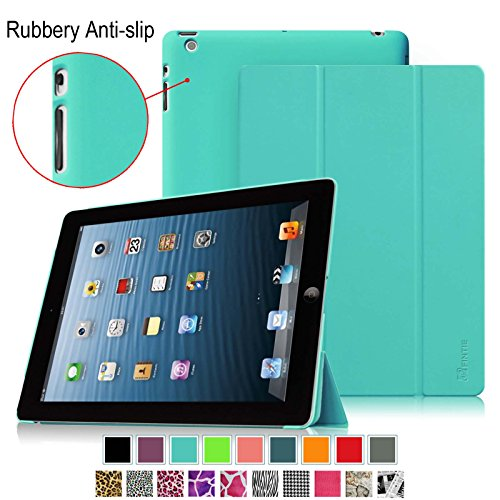 Fintie iPad 2, iPad 3 & iPad with Retina Display Case - [Smartshell Anti-Slip Series] Super Slim Case with Rubberized Slip Resistant Back Cover Supports Auto Wake / Sleep, Blue