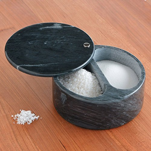 Premium Large Black Marble Countertop Salt Box with a Minerals Sea Salt Combo (Flying Pan Lid compare prices)