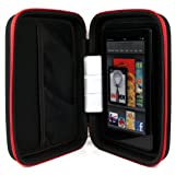 VanGoddy Harlin Case - RED & BLACK Durable Hard Cover Cube Protector for Dell Venue 8 Pro / HD Touch Tablet + White Hands-free Earphones (Headphones with Microphone)