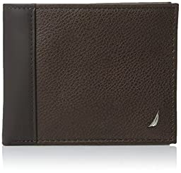 Nautica Men's Milled Leather Passcase Wallet with Removable Card Case, Brown, One Size