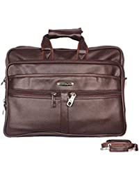 Handcuffs Office Bag For Men's/ Gents 16' Inch Brown Laptop Leather Bag
