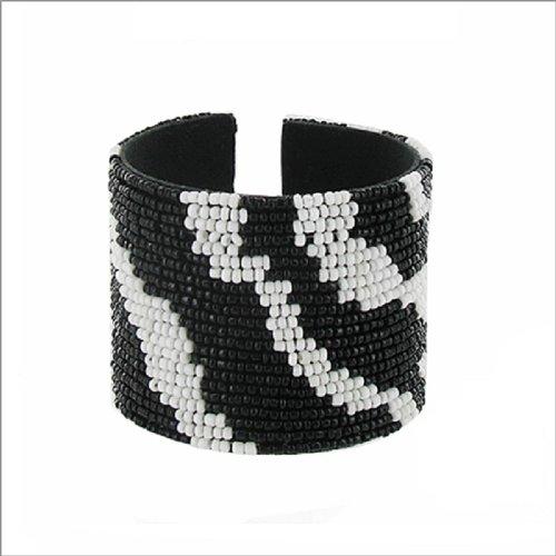 JOA Seed Bead Zebra Pattern Cuff Bracelet #040465