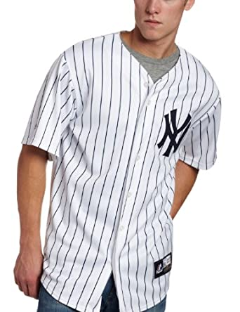 Mens New York Yankees Cooperstown Collection Replica Baseball Jersey,Pinstripes Blue by Majestic