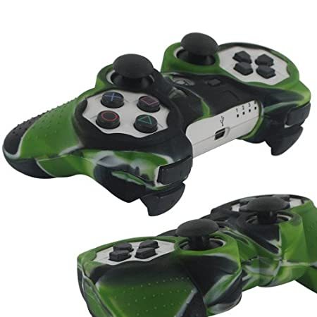 Skque Silicone Soft Protective Case Cover for Sony PlayStation 3 Controller, Camo Pattern, Black, Green