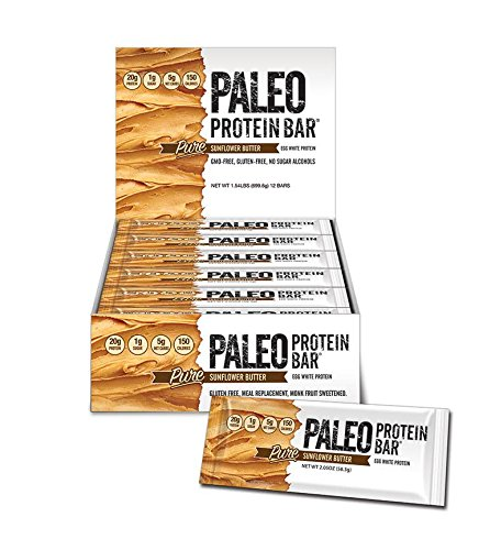 Paleo Protein Bar® (Organic SunButter) 12 Bars (150 Cal, 20g Egg White Protein 5 Net Carbs) (Bakery Paleo Protein compare prices)