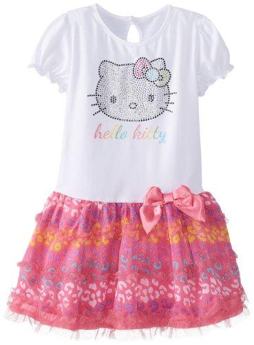 Hello Kitty Little Girls' Rhinestone Dress With Glitter, Carmine Rose, 2T front-873216
