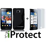 "2 X ORIGINAL iProtect Displayschutzfolie Samsung Galaxy S2 II i9100 PLUS S-LINE HIGHCLASS TPU CASE BLACKvon ""iprotect"""