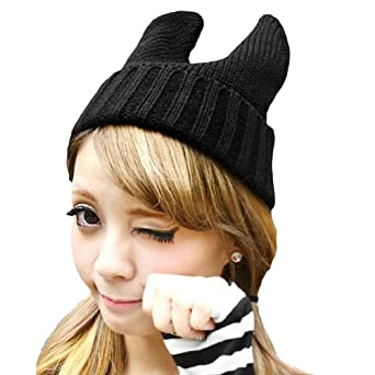 LOCOMO Women Girl Cute Cat Ear Slouchy Knit Beanie Hat Cap FAF033BLK Black