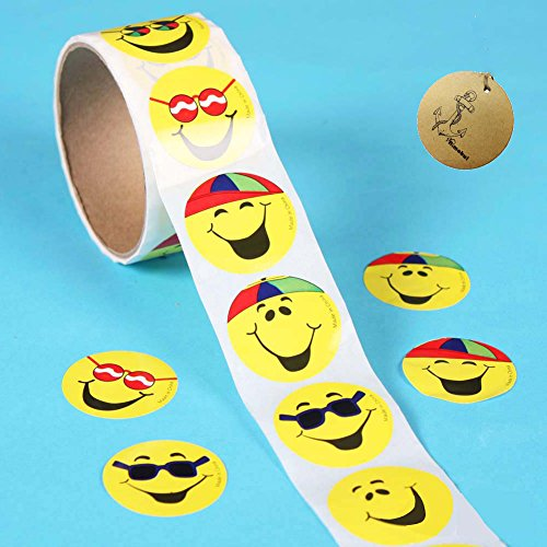 Rimobul Goofy Smile Face Roll Stickers (2 Rolls)