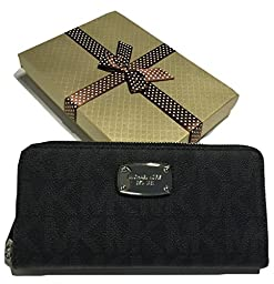Michael Kors ZA Continental Jet Set Clutch Wallet MK Signature PVC with Gift Box (Black)