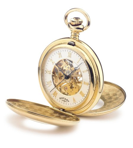 Mechanical Rotary Pocket Watch with White Dial Analogue Display  &  Skeleton Movement. Gold Plated Case  &  Chain. Ref MP00713/01.