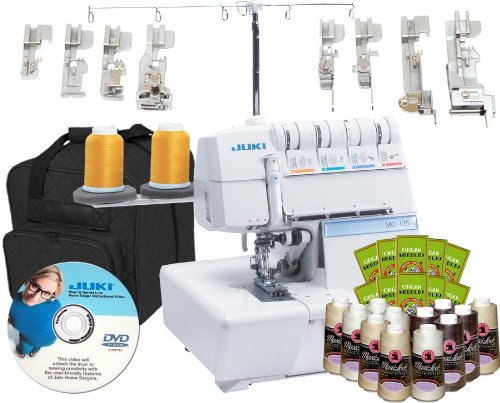 Learn More About Juki MO-735 5-Thread Serger with BONUS I WANT IT ALL PACKAGE! Includes: 8 Piece Foo...