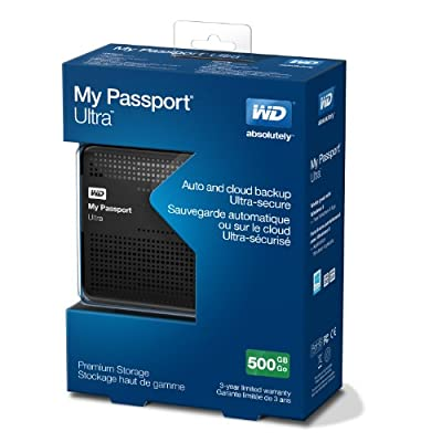 WD My Passport Ultra 500GB Portable External Hard Drive USB 3.0 with Auto and Cloud Backup - Black (WDBPGC5000ABK-NESN)