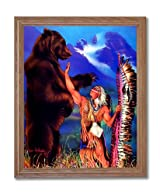 Indian Warrior With Grizzly Bear Home Decor Wall Picture Oak Framed Art Print