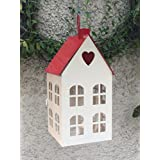 Wonderland RED-WHITE HOUSE LANTERN WITH LED LIGHT INSIDE