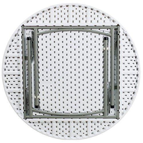 48'' Round Granite White Plastic Folding Table 1.5 Load Capa