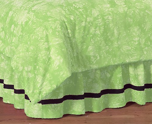 Lime Green Peace Out Queen Kids Children'S Bed Skirt By Sweet Jojo Designs front-59174