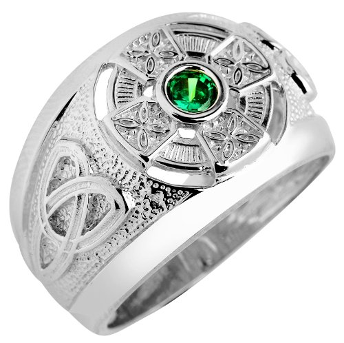 Silver Celtic Men's Ring with Emerald