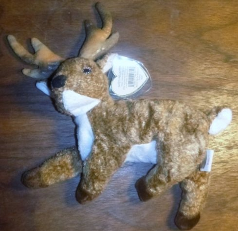 """Ty 2000 Beanie Baby """"Roxie"""" - Black Nose, Light Antlers"""