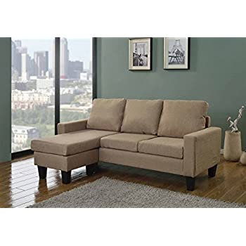 Home Life Canvas Linen Cloth Modern Contemporary Upholstered Quality Sectional Left or Right Adjustable Sectional Sofa, Large, Beige/Light Brown