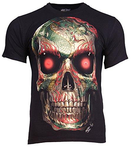 Teschio Drago Metallico Rock da scheletro Black XL