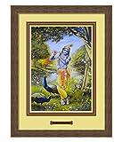 Elegant Arts & Frames Krishna Playing Flute Multicolour Print 14 x 19 Photo Frame