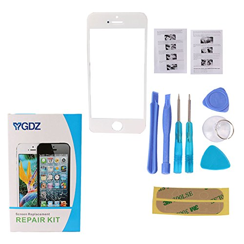 Ygdz Premium Screen Glass Lens Replacement & Repair Kit (Glass Only - Digitizer/Lcd Not Included) For Iphone 5/5S/5C(At&T Sprint Verizon) - White (Ship From Usa)