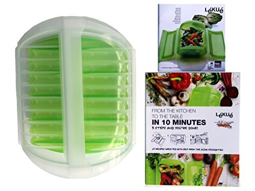 Lekue 3-4 Person Microwave Steamer Steam Case With Draining Tray and Bonus 10 Minute Cookbook (Clear & Green)