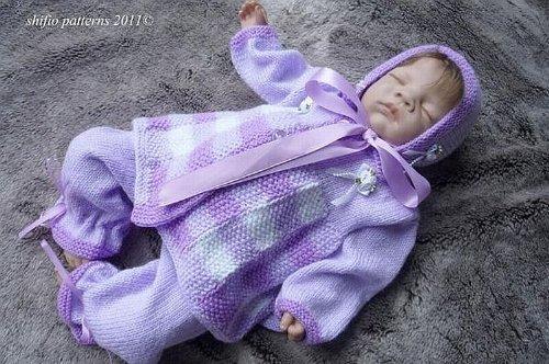 Gingham Pram Set Baby Knitting Pattern 174 UK