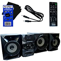 Sony All in One 700W Hi-Fi Shelf System with Bluetooth & NFC (near-field communication), CD Player, FM Radio, USB & Aux Inputs, EQ & Bass Boost + Remote Control + Aux Cable + HeroFiber Cleaning Cloth