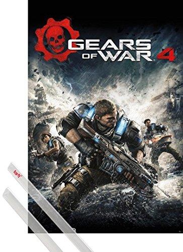 Poster + Sospensione : Gears Of War Poster Stampa (91x61 cm) 4, Game Cover e Coppia di barre porta poster trasparente 1art1®