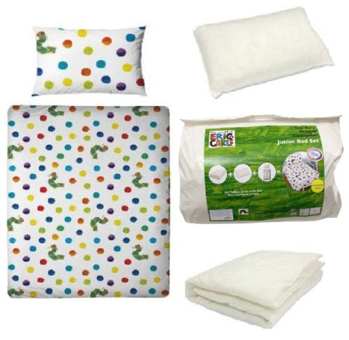 The Very Hungry Caterpillar 4Pc Toddler Junior Very Hungry Caterpiller Cot Bed Duvet Quilt Cover Pillow Set