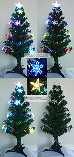 "Tektrum 36"" Christmas Rainbow Color Changing Fiber Optic Lights Tree With 12 Color Changing Star/Snowflake And Star Top For Christmas/Holiday/Party"