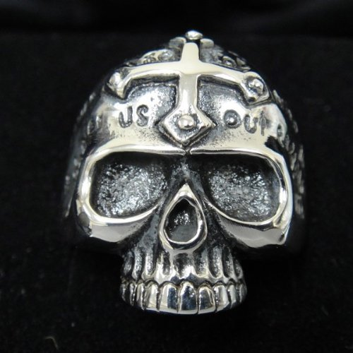 The Biker Metal 316L Stainless Steel Men's Cross Skull Head Ring for Harley Rider Motor Biker TR-75 by Priority Mail