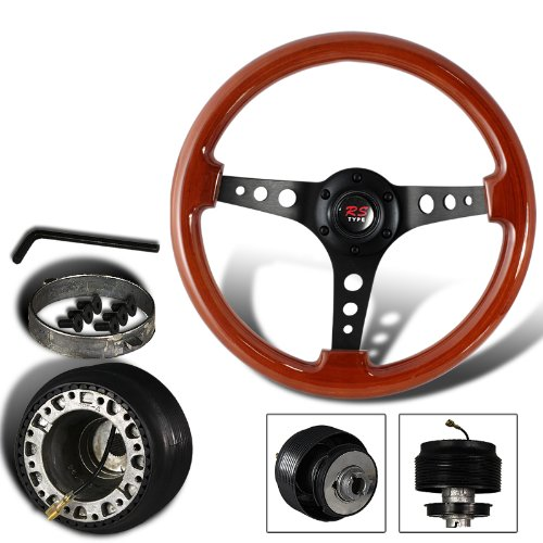 345mm 6 Hole Classic Wood Grain Style Deep Dish Steering Wheel + Mazda Hub Adapter (Mazda 323 Steering Wheel compare prices)