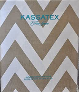Amazon Kassatex Cotton Fabric Shower Curtain Tan