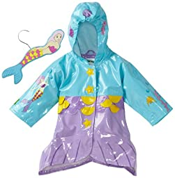 Kidorable Mermaid Raincoat, Aqua Blue, 4T