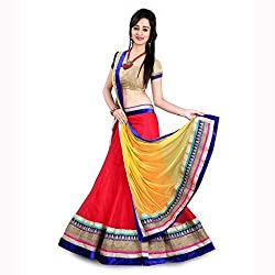 FabTexo Embroidered With Embellished Red Material::Net Traditional Wedding Wear Lehenga Choli Set(Unstiched)