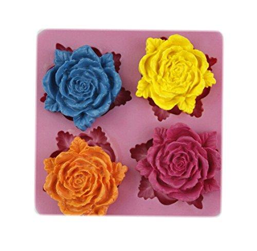 Auket Rose Pivoine 4 fleurs gâteau en silicone Fondant savon sucre Artisanat Décoration Mold # 108 (3DMold-108)